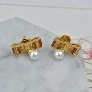 Henri Bendel Zircon Inlaid Bow Earrings